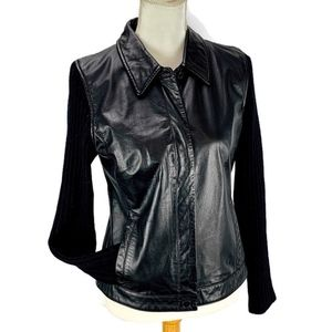 LOFT Jacket Black Leather Button Knit Sleeves Sz S